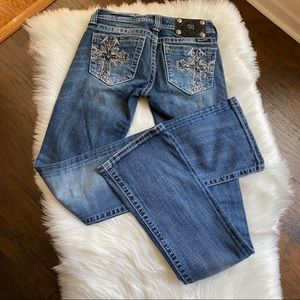 Miss Me Boot Cut Cross Embellished Jeans